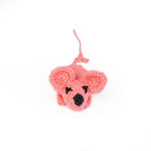 Игрушка вязанная – мышка ручной работы нежно розовая