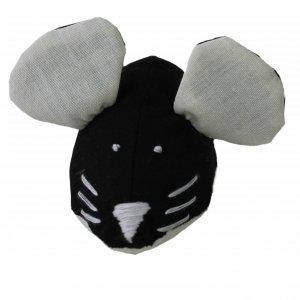 Игрушка для кота мышка мягкая ручной работы шитая черная с белым
