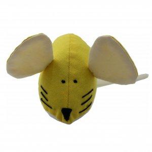 Игрушка для кота мышка мягкая ручной работы шитая желтая