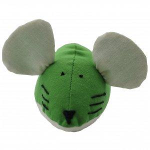 Игрушка для кота мышка мягкая ручной работы шитая зеленая